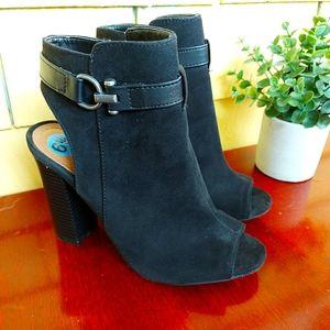 BAMBOO Chunky Heel Open Toe Black 6.5 New